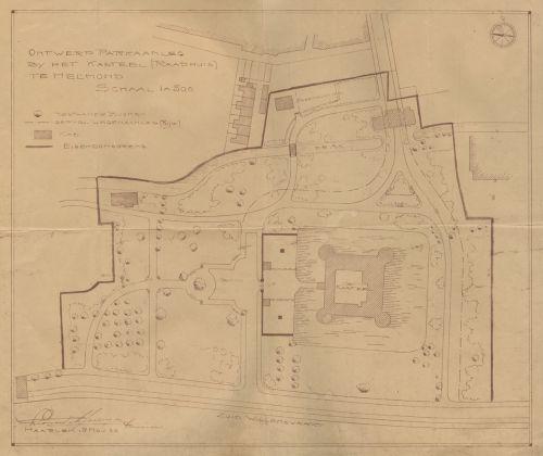 Tekening van de kasteeltuin uit 1922, gemaakt door tuinarchitect Leonard Springer