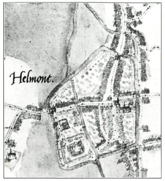 Tekening van oudste stadsplattegrond van Helmond gemaakt door Jan van Deventer
