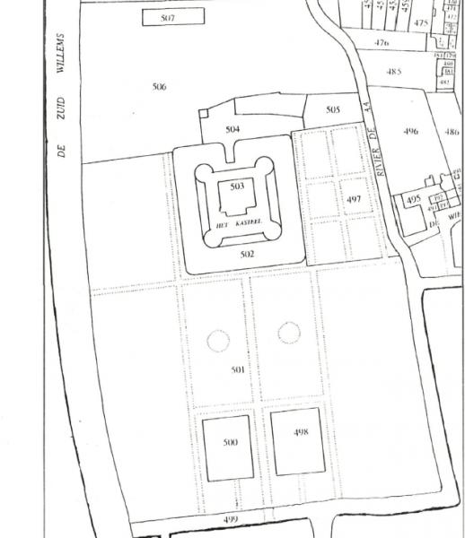 Kaart van indeling van het kasteel met de moestuinen